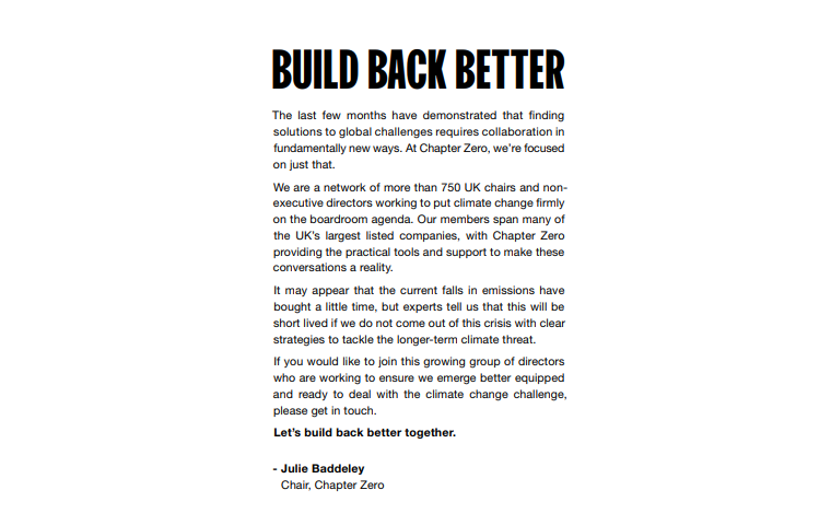 Build Back Better – a letter in the Financial Times