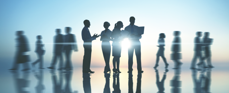 Business people talking with blue background