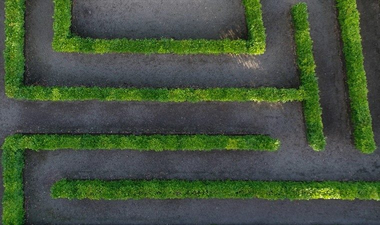 View of a green hedge maze from above, with a grey floor