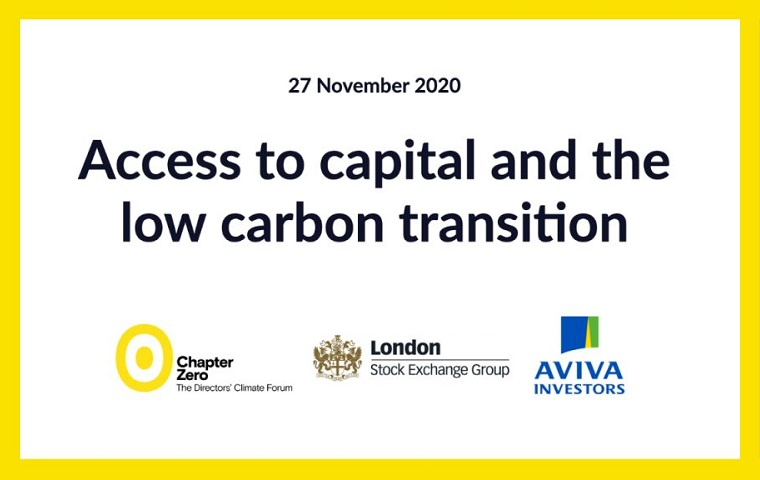 Title slide for 'Access to capital and the low carbon transition'