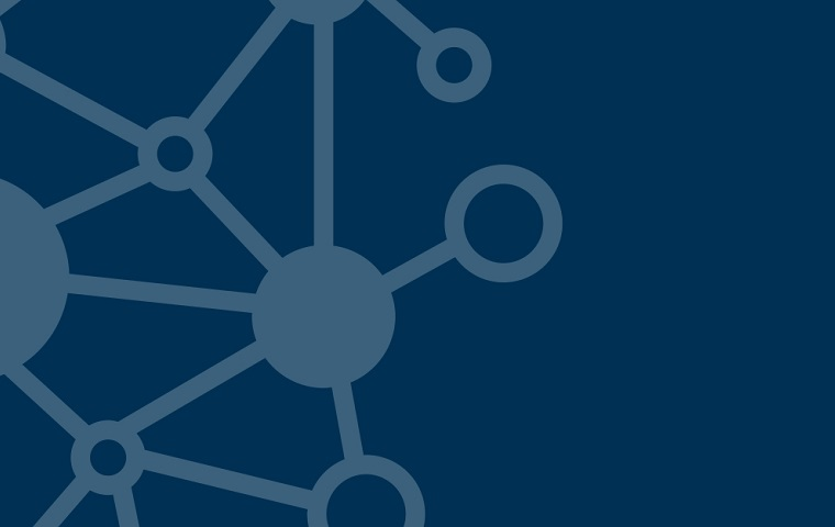 A dark blue background with a lighter blue network pattern