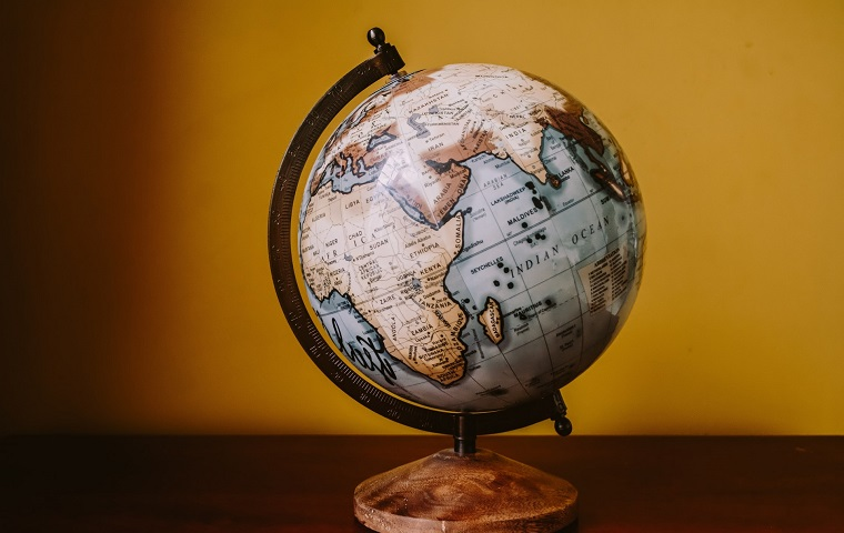 Desk globe sat on a wooden surface against a yellow background