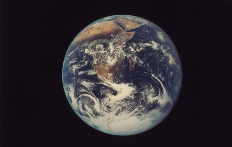 The full globe, as viewed from space surrounded by a flat black background